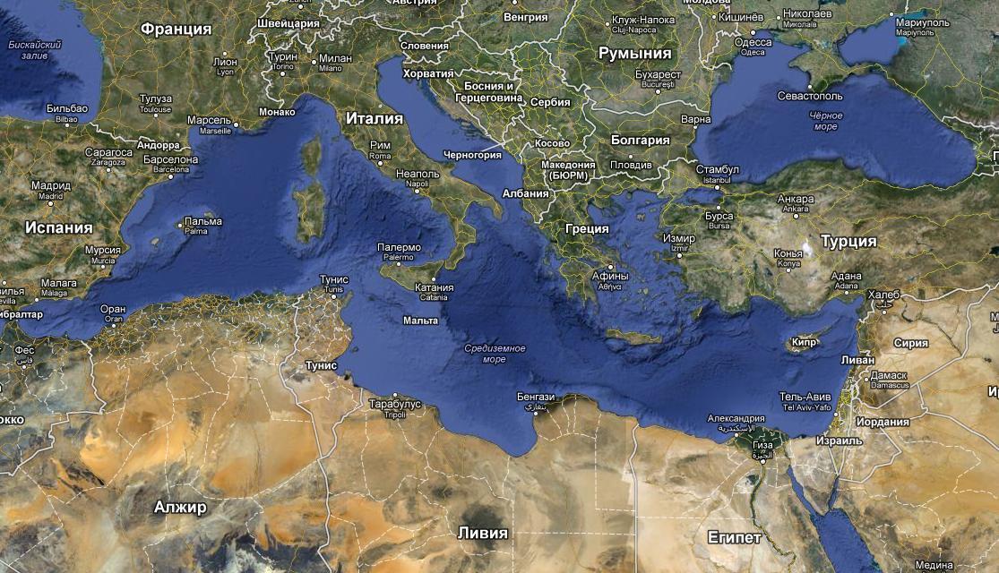 Средиземное море максимальная глубина